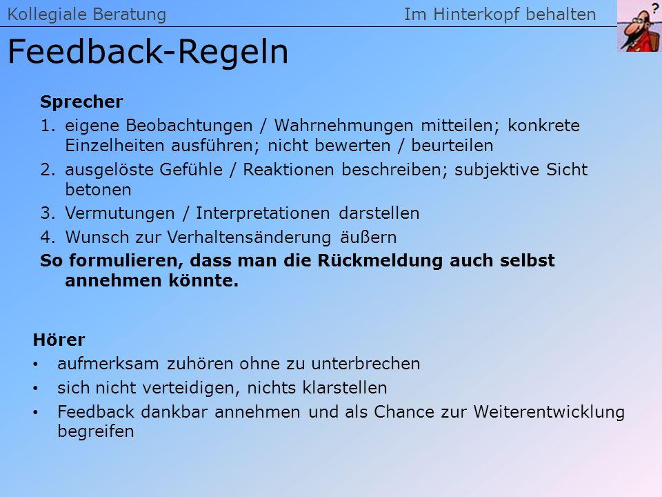 Feedback-Regeln Kollegiale Beratung Im Hinterkopf behalten Sprecher