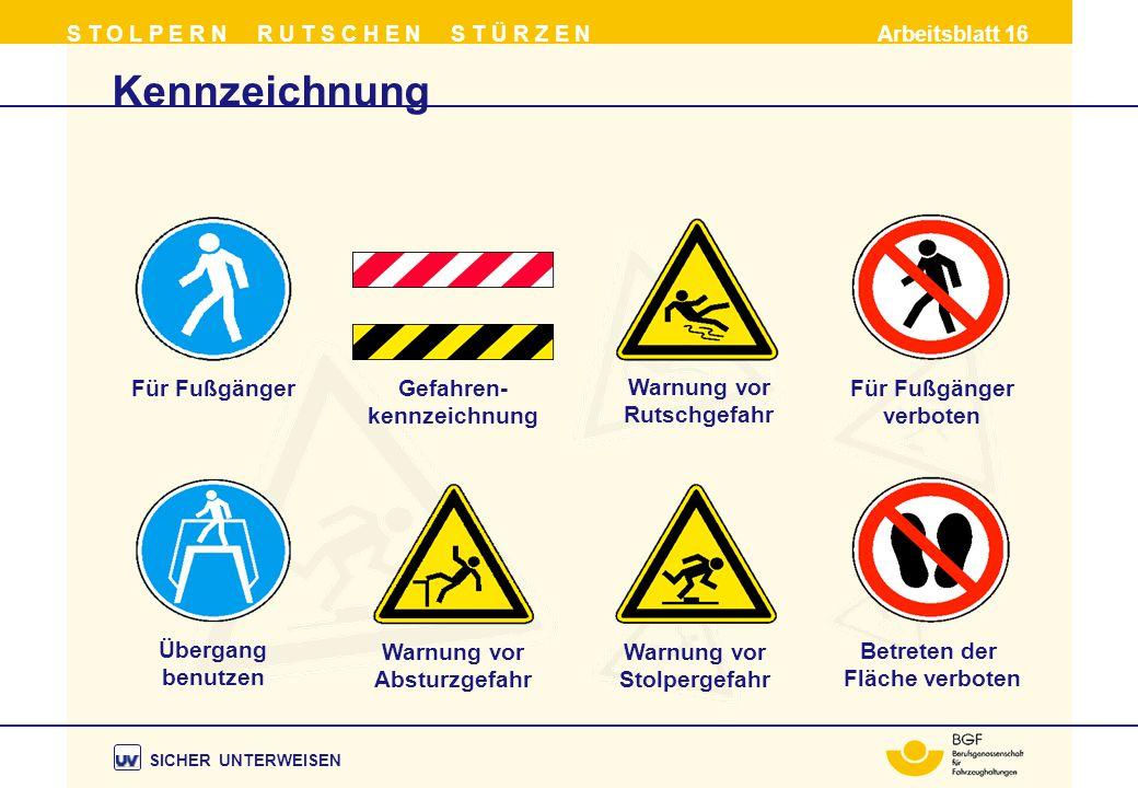 Kennzeichnung Für Fußgänger Gefahren- kennzeichnung Warnung vor