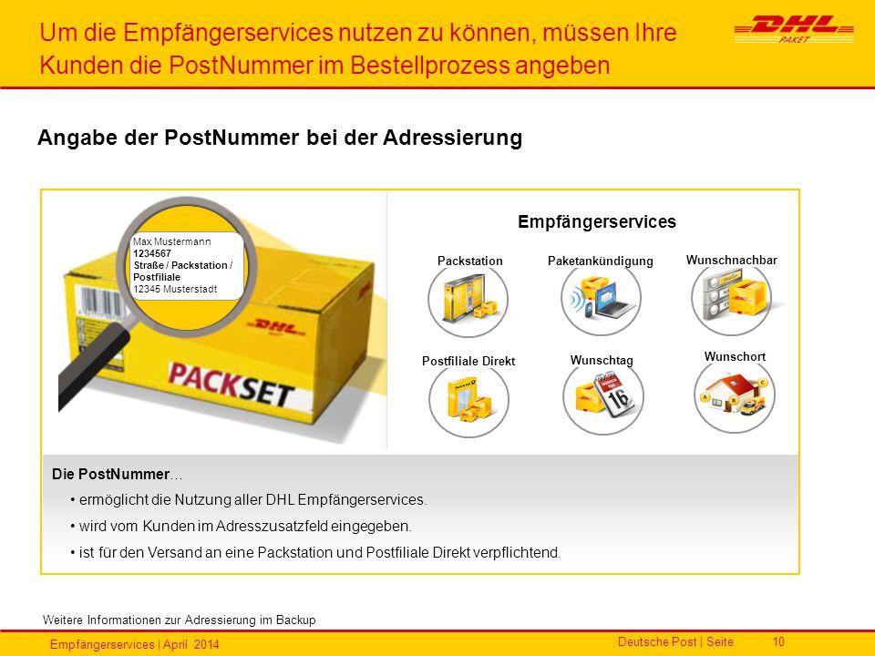 Um die Empfängerservices nutzen zu können, müssen Ihre Kunden die PostNummer im Bestellprozess angeben