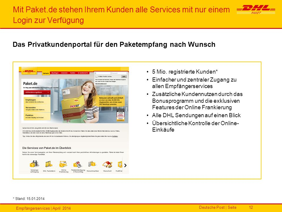 Mit Paket.de stehen Ihrem Kunden alle Services mit nur einem Login zur Verfügung