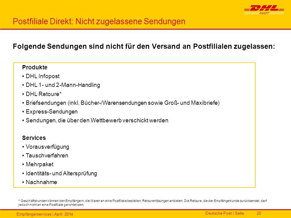 Postfiliale Direkt: Nicht zugelassene Sendungen