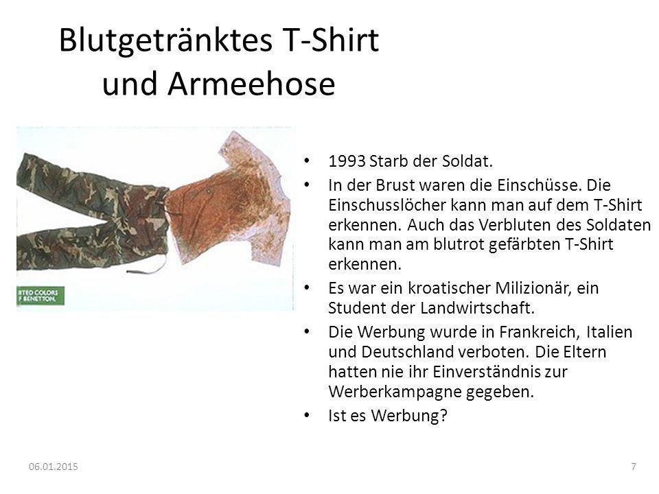 Blutgetränktes T-Shirt und Armeehose