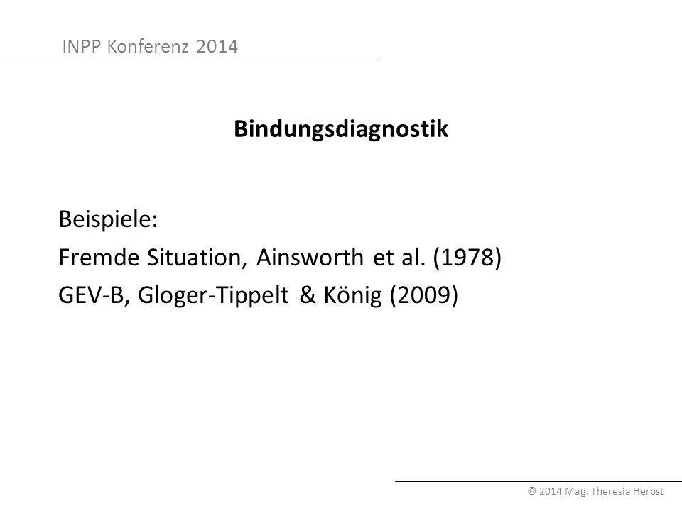 Bindungsdiagnostik Beispiele: Fremde Situation, Ainsworth et al.