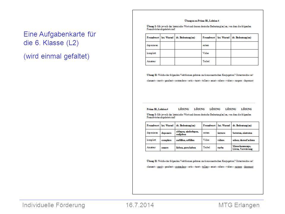 Eine Aufgabenkarte für die 6. Klasse (L2) (wird einmal gefaltet)
