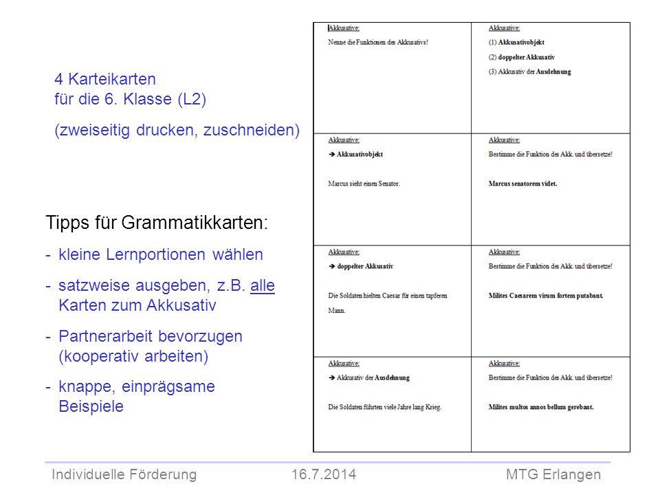 Tipps für Grammatikkarten: