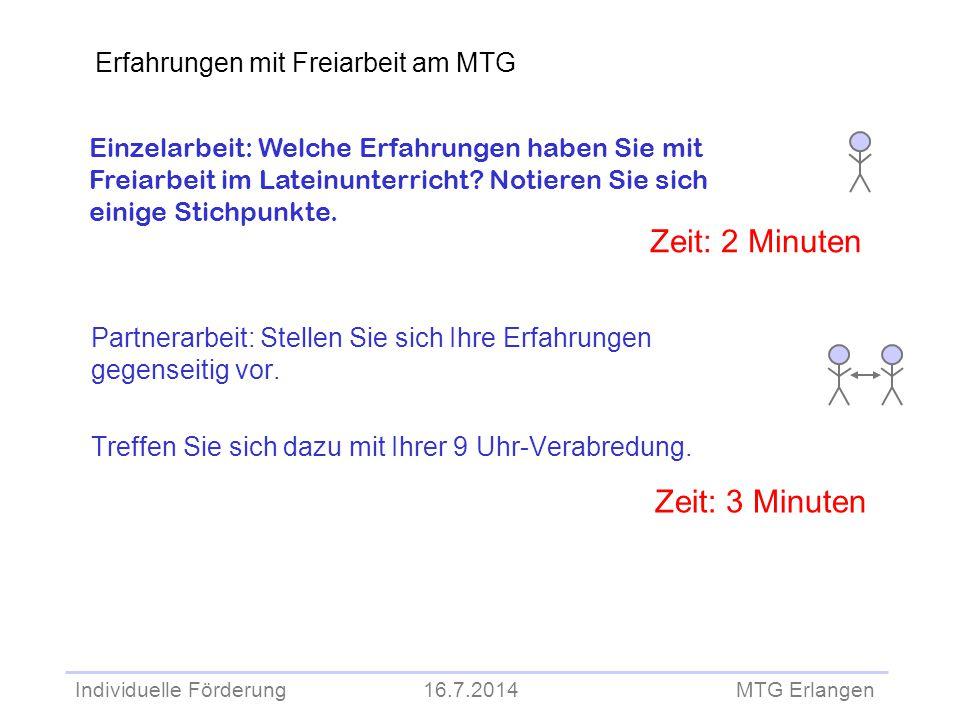 Zeit: 2 Minuten Zeit: 3 Minuten Erfahrungen mit Freiarbeit am MTG