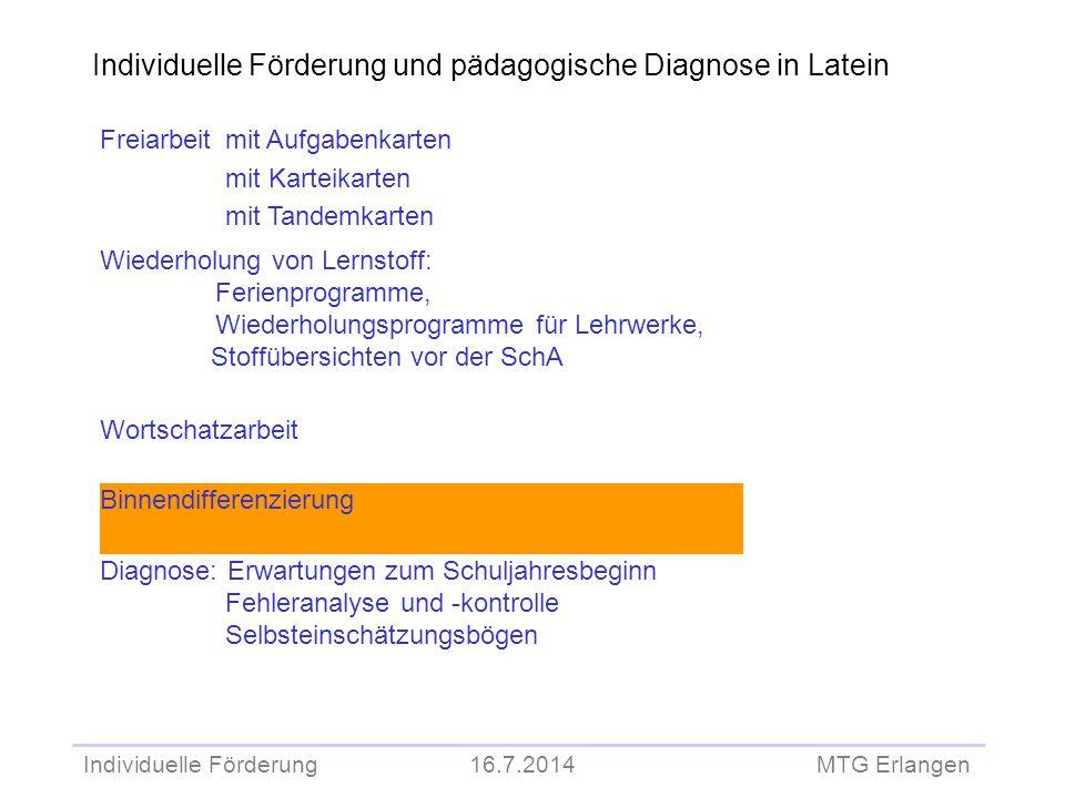 Individuelle Förderung und pädagogische Diagnose in Latein