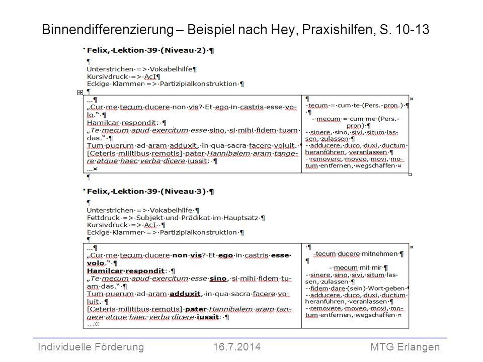 Binnendifferenzierung – Beispiel nach Hey, Praxishilfen, S. 10-13