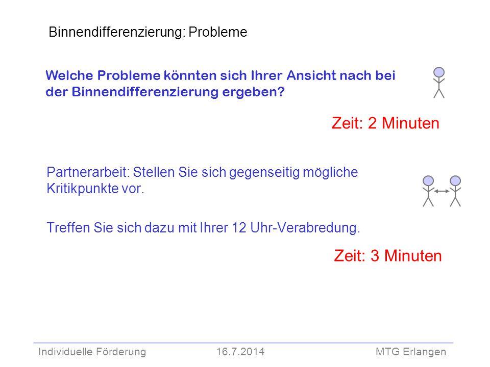 Zeit: 2 Minuten Zeit: 3 Minuten Binnendifferenzierung: Probleme
