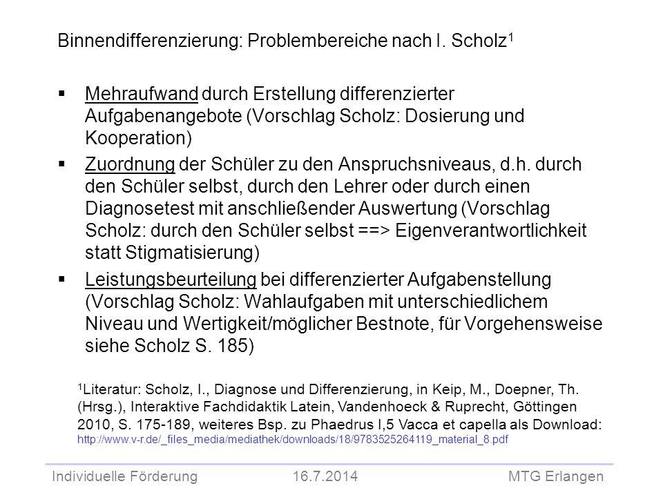 Binnendifferenzierung: Problembereiche nach I. Scholz1