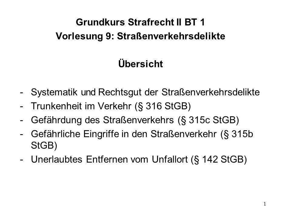 Grundkurs Strafrecht II BT 1 Vorlesung 9: Straßenverkehrsdelikte
