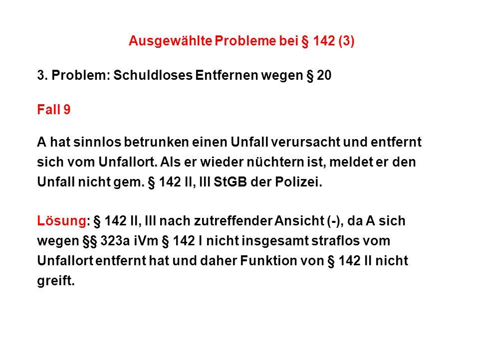 Ausgewählte Probleme bei § 142 (3)
