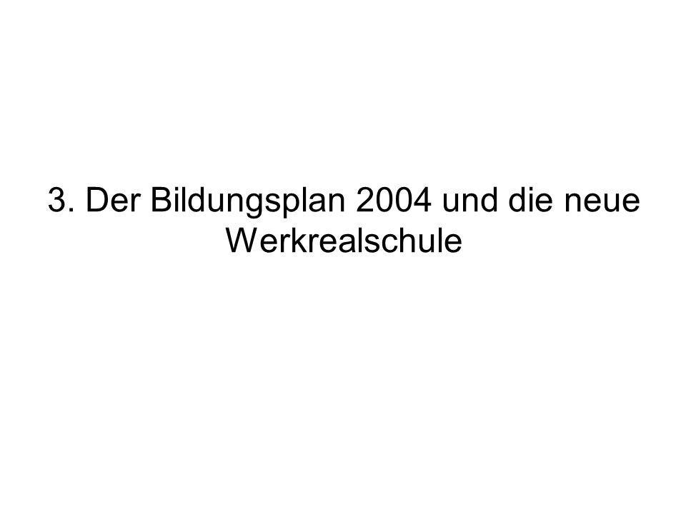 3. Der Bildungsplan 2004 und die neue Werkrealschule