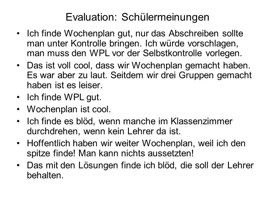 Evaluation: Schülermeinungen