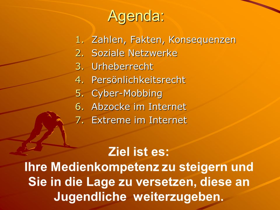 Agenda: Zahlen, Fakten, Konsequenzen. Soziale Netzwerke. Urheberrecht. Persönlichkeitsrecht. Cyber-Mobbing.