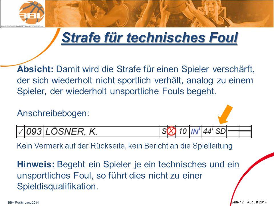 Strafe für technisches Foul