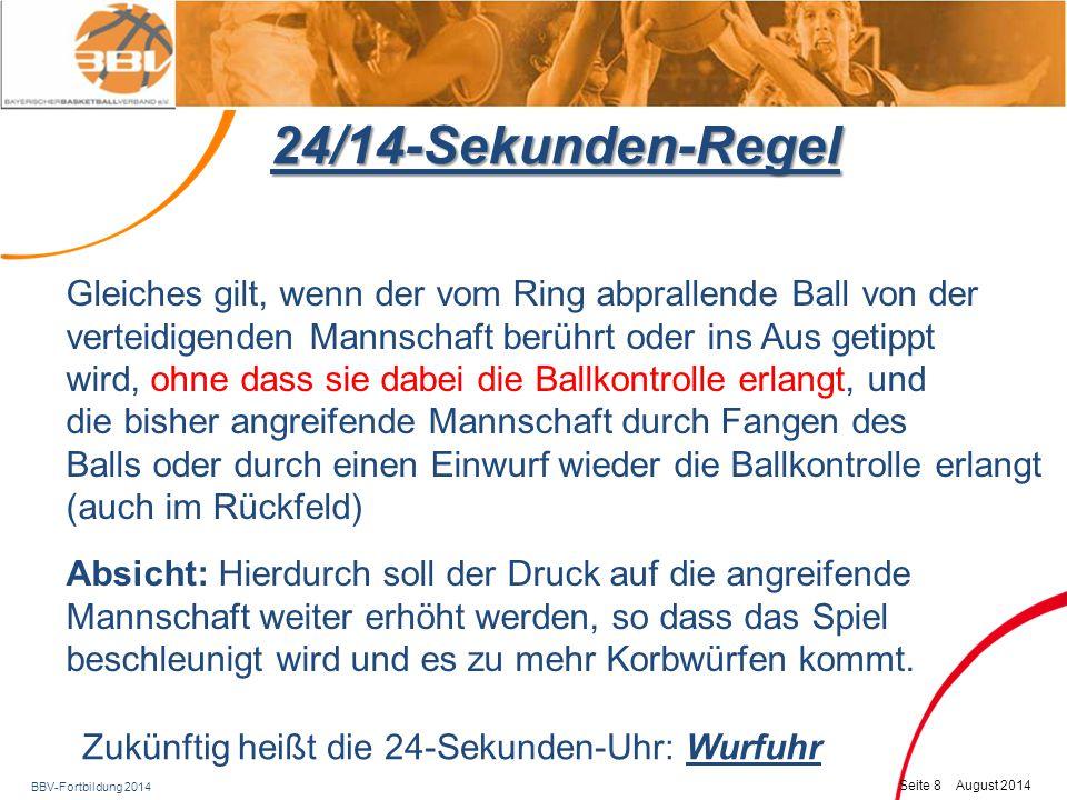 24/14-Sekunden-Regel Gleiches gilt, wenn der vom Ring abprallende Ball von der. verteidigenden Mannschaft berührt oder ins Aus getippt.