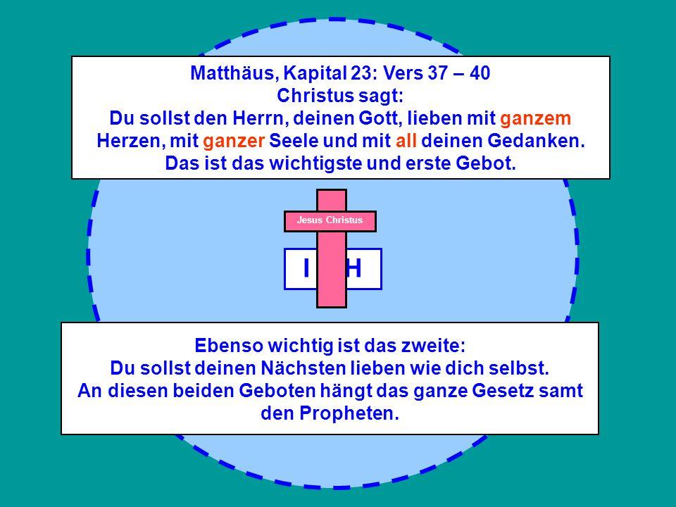 Matthäus, Kapital 23: Vers 37 – 40 Christus sagt: Du sollst den Herrn, deinen Gott, lieben mit ganzem Herzen, mit ganzer Seele und mit all deinen Gedanken. Das ist das wichtigste und erste Gebot.