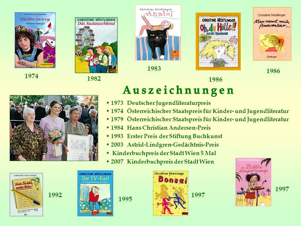 1983 1986. 1974. 1982. 1986. Auszeichnungen. 1973 Deutscher Jugendliteraturpreis.