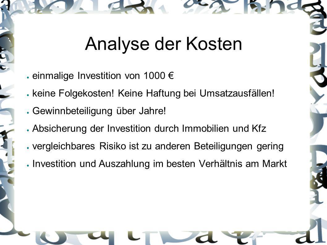 Analyse der Kosten einmalige Investition von 1000 €