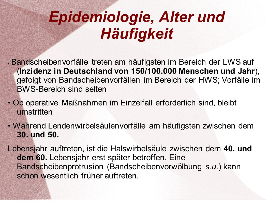 Epidemiologie, Alter und Häufigkeit