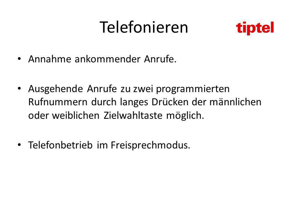 Telefonieren Annahme ankommender Anrufe.