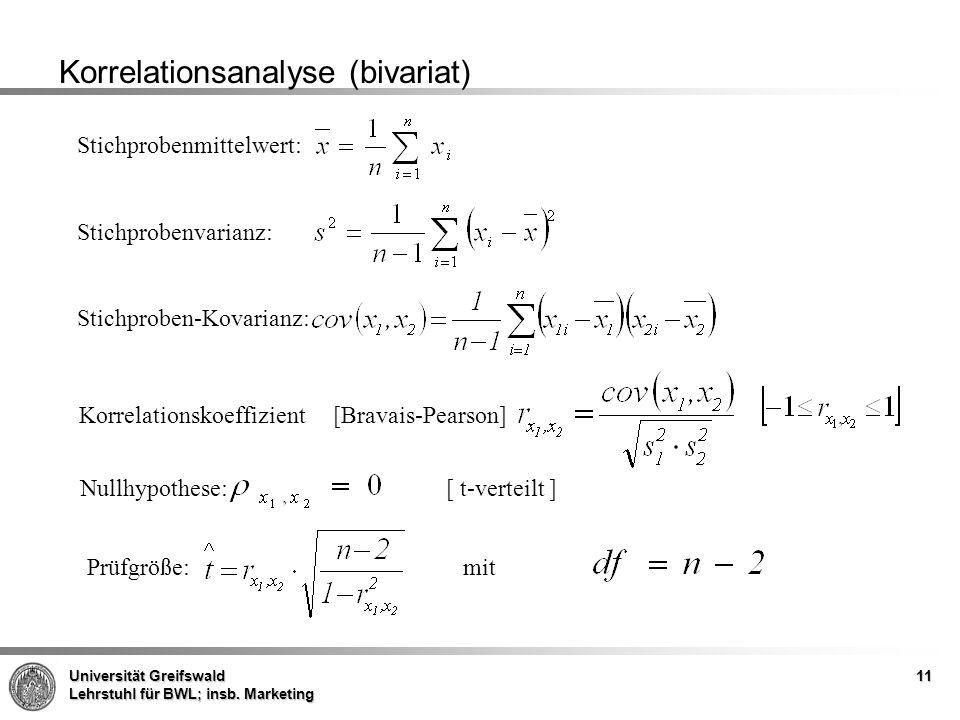 Korrelationsanalyse (bivariat)