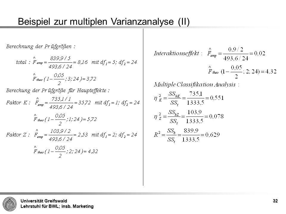Beispiel zur multiplen Varianzanalyse (II)