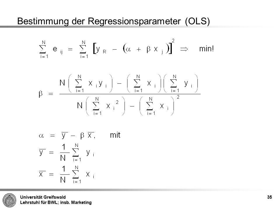 Bestimmung der Regressionsparameter (OLS)