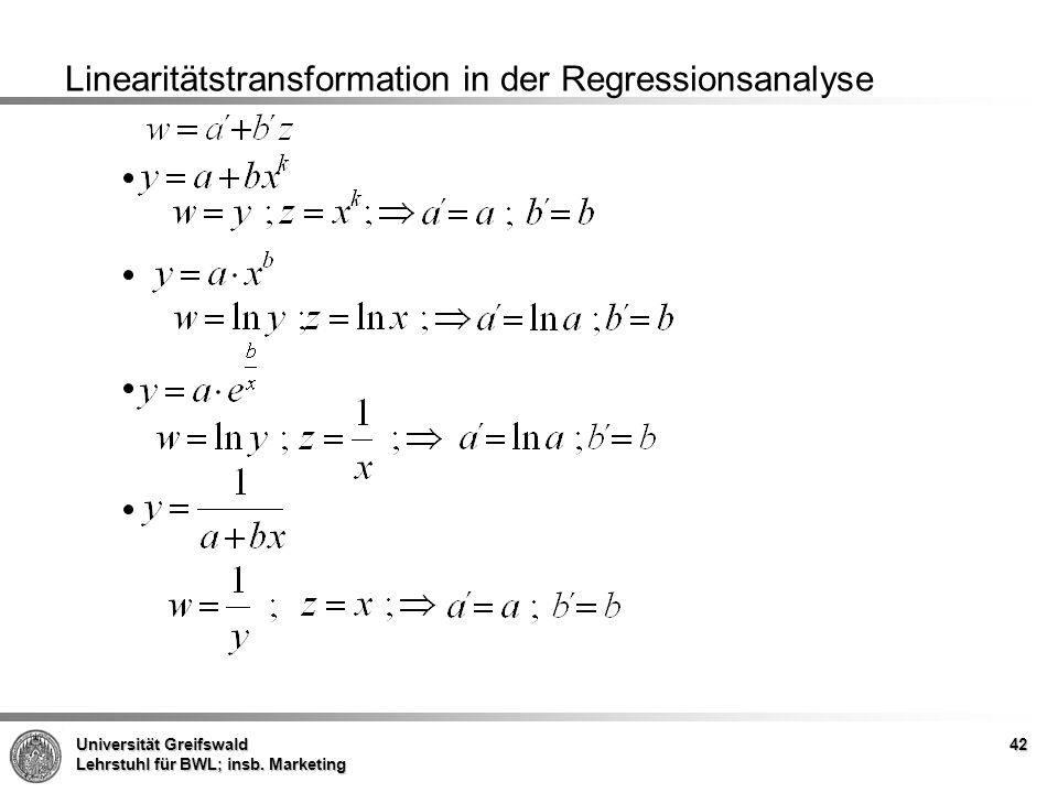 Linearitätstransformation in der Regressionsanalyse