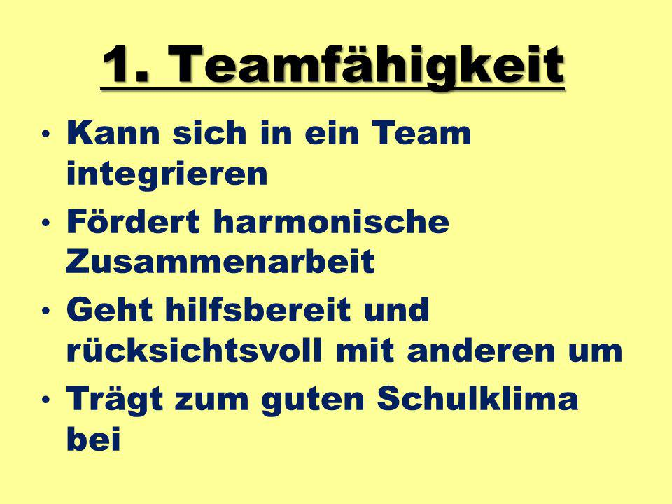 1. Teamfähigkeit Kann sich in ein Team integrieren