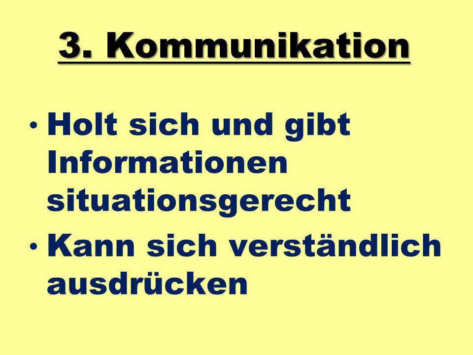 3. Kommunikation Holt sich und gibt Informationen situationsgerecht