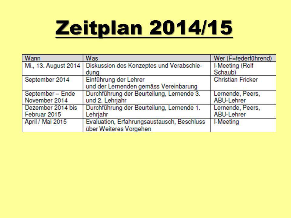 Zeitplan 2014/15