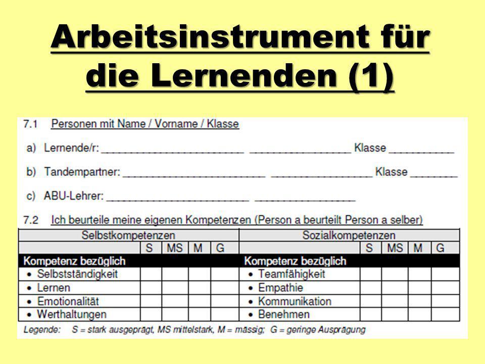 Arbeitsinstrument für die Lernenden (1)