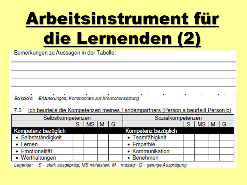 Arbeitsinstrument für die Lernenden (2)