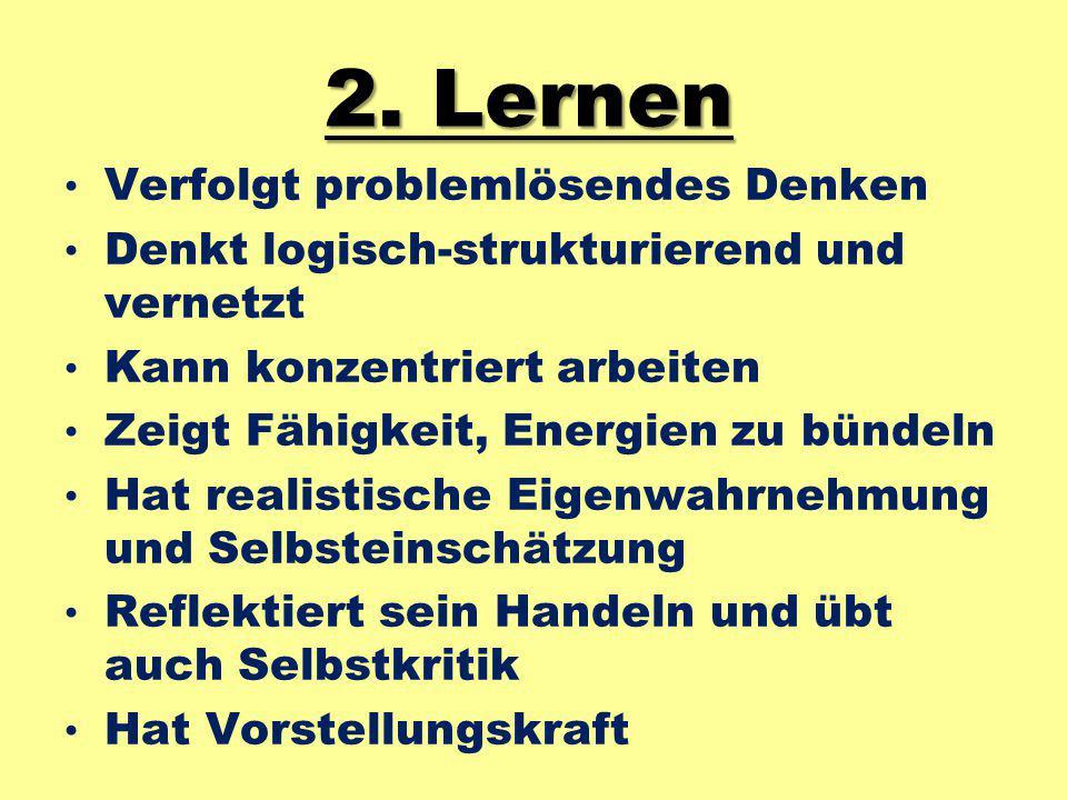 2. Lernen Verfolgt problemlösendes Denken