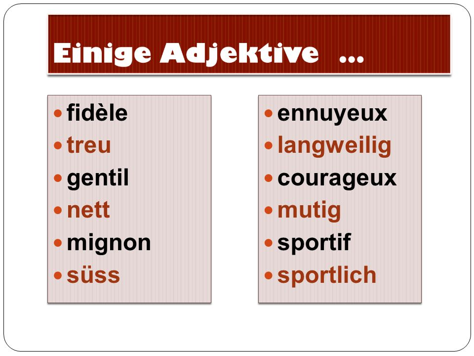 Einige Adjektive … fidèle treu gentil nett mignon süss ennuyeux