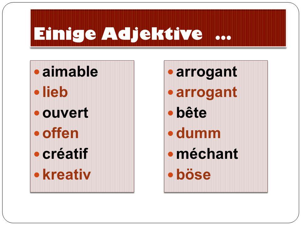 Einige Adjektive … aimable lieb ouvert offen créatif kreativ arrogant