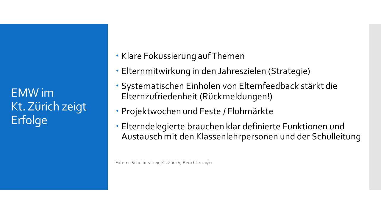 EMW im Kt. Zürich zeigt Erfolge