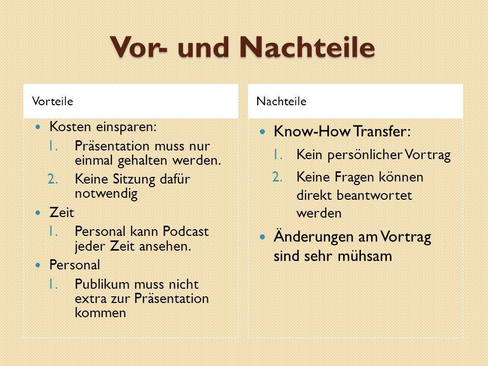 Vor- und Nachteile Know-How Transfer: