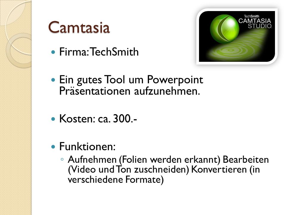 Camtasia Firma: TechSmith