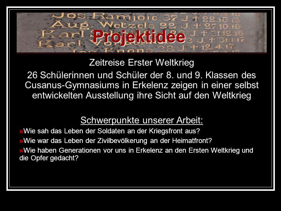 Projektidee Zeitreise Erster Weltkrieg