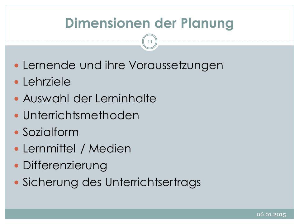 Dimensionen der Planung