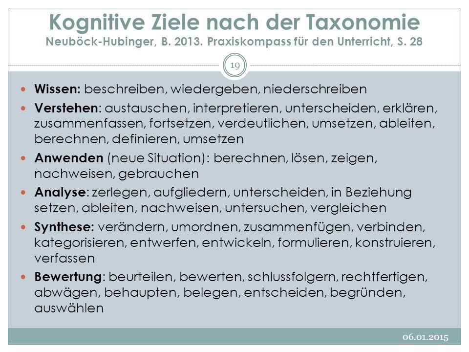 Kognitive Ziele nach der Taxonomie Neuböck-Hubinger, B. 2013