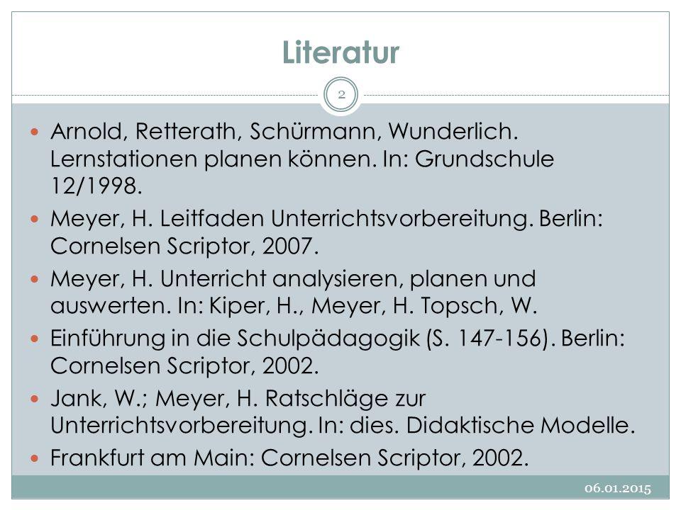 Literatur Arnold, Retterath, Schürmann, Wunderlich. Lernstationen planen können. In: Grundschule 12/1998.