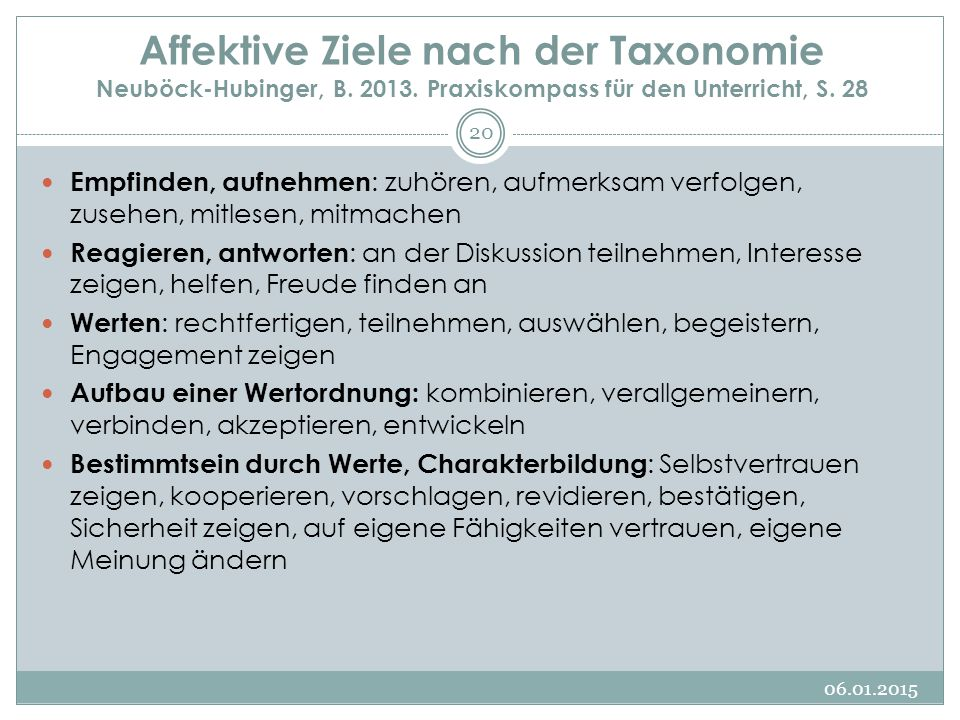 Affektive Ziele nach der Taxonomie Neuböck-Hubinger, B. 2013