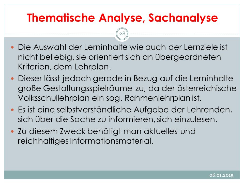 Thematische Analyse, Sachanalyse