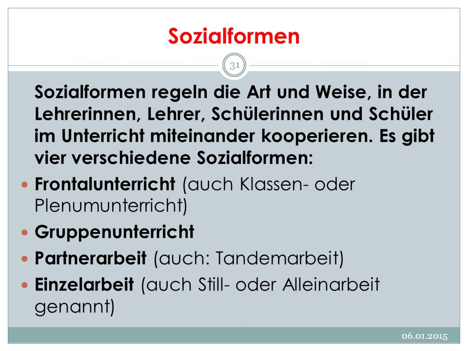 Sozialformen