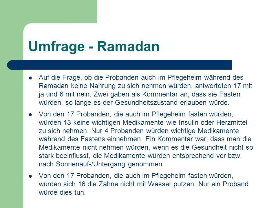 Umfrage - Ramadan