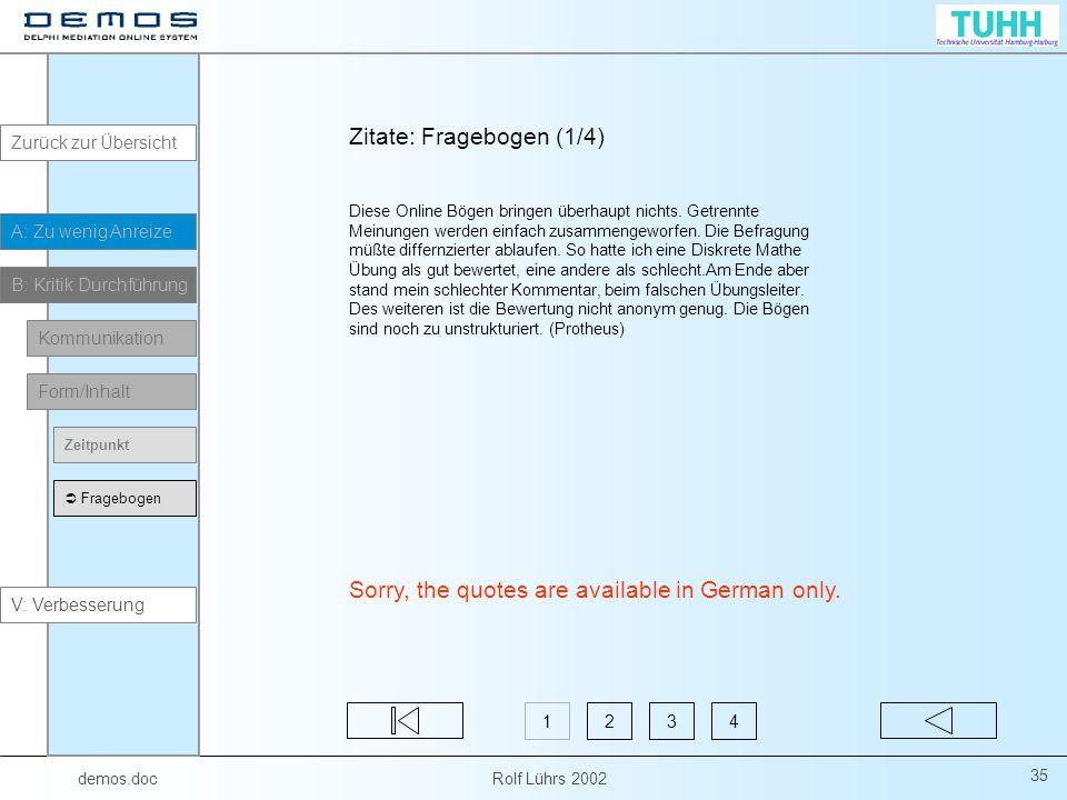 Zitate: Fragebogen (1/4)